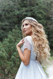 Beautiful gentle girl bride in the air fairy blue wedding dress with luxurious curls in the mountains near the lake with a crown u Royalty Free Stock Photography