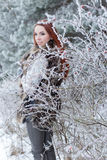 Beautiful gentle girl with red hair in a fur vest standing in a snowy forest with iniem on the branches of trees Stock Images