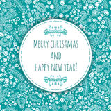 Beautiful and gentle greeting Happy New Year and Merry Christmas. Christmas card, New Year banner. Congratulation to the holiday. Royalty Free Stock Photo