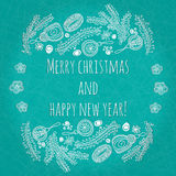 Beautiful and gentle greeting Happy New Year and Merry Christmas. Christmas card, New Year banner with elements of toys. Stock Images