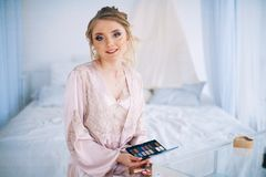 Morning of the bride. A beautiful and gentle morning of the bride Royalty Free Stock Photo