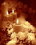 Candle on floral background Stock Photography