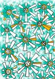 Beautiful geometric flowers on green background. Yellow - white flowers with rectangular petals royalty free illustration