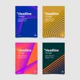 Beautiful geometric gradient flyer set collection royalty free illustration