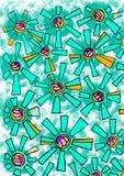 Beautiful geometric mint flowers on green-blue background vector illustration