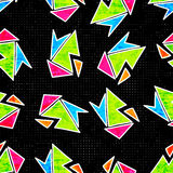 Beautiful geometric polygons seamless pattern on a black background vector illustration Stock Photography