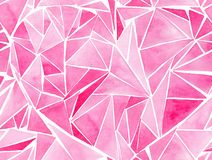 Beautiful geometric precious crystal graphic lovely artistic tender wonderful holiday bright Valentine pink hearts pattern waterco. Lor hand illustration stock illustration