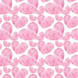 Beautiful geometric precious crystal graphic lovely artistic tender wonderful holiday bright Valentine pink hearts pattern waterco. Lor hand illustration royalty free illustration