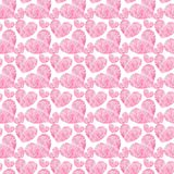 Beautiful geometric precious crystal graphic lovely artistic tender wonderful holiday bright Valentine pink hearts pattern waterco. Lor hand illustration Stock Image