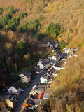 Beautiful German small town in mountains. Kind on city Altenahr from height of the bird's flight Royalty Free Stock Photo