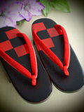 Beautiful geta. Red and black geta the japanese footwear for kimono Royalty Free Stock Images
