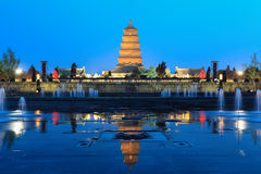 Giant wild goose pagoda at night Royalty Free Stock Images