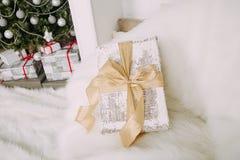 Beautiful gift on armchair Stock Photography