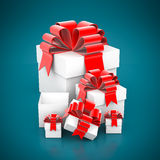 Beautiful gift box. On a blue background Stock Image