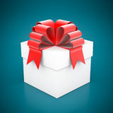 Beautiful gift box. On a blue background Stock Photos