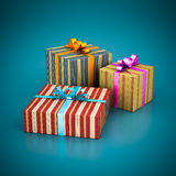 Beautiful gift box. On a blue background Stock Photography
