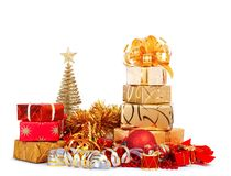 Beautiful Gift box in gold wrapping paper isolated Royalty Free Stock Images