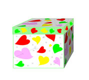 A beautiful gift box with hearts Stock Photo