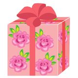 A beautiful gift. The box is packed for a holiday. The package is pink, decorated with roses. The red bow is tied on top. Vector stock illustration