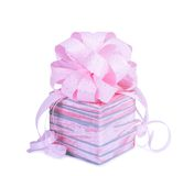 Beautiful  Gift box in pink wrapping paper Stock Photos
