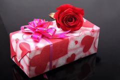 Beautiful gift box with rose Stock Image
