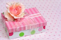 Beautiful gift box and silk rose Stock Image