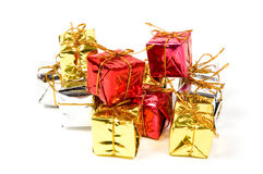 Beautiful gift box on white. Beautiful gift box isolated on white royalty free stock photo