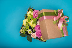 Beautiful Gift Box With Flowers Royalty Free Stock Photography