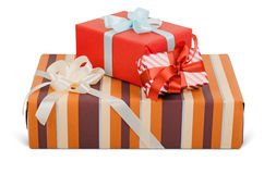Beautiful gift boxes. With bows. Objects with Clipping Paths Royalty Free Stock Photos