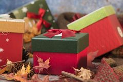 Beautiful Gift Boxes And Greeting CARDS Royalty Free Stock Photos