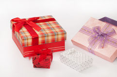 Beautiful gift boxes with bows Stock Photos