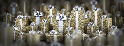 Beautiful gift boxes with ribbon. 3D render ( high resolution Stock Photography