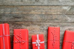Beautiful gift boxes on wooden background,. Top view Royalty Free Stock Photos