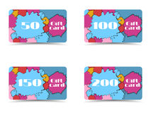Beautiful gift card. Collection of gift cards. Shopping gift car Stock Photography