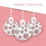 Beautiful gift card with hanging Christmas balls. Merry Christmas and Happy New Year. Elegant background for New Year`s design. Vector illustration Royalty Free Stock Photo