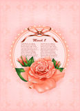 Beautiful gift card with pastel rose and gift bow Royalty Free Stock Image
