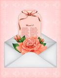 Beautiful gift card with pastel rose and gift bow Stock Image