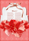 Beautiful gift card with red hibiscuses stock photo