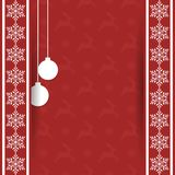 Beautiful gift card with snowflakes and hanging Christmas balls. Elegant background for New Year`s design. Merry Christmas and Happy New Year. Vector Royalty Free Stock Photo