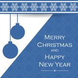 Beautiful Gift Card With Snowflakes And Hanging Christmas Balls. Elegant Background For New Year`s Design.