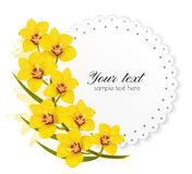 Beautiful gift card with yellow flowers. Vector Stock Photography