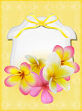 Beautiful gift card with yellow and pink plumerias Royalty Free Stock Images