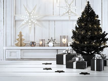Beautiful gift with Christmas ornaments. 3d rendering. 3d rendering. beautiful gift with Christmas ornaments Stock Image