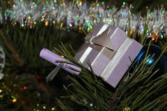 Gift for the new year. Beautiful gift for the new year under the tree Royalty Free Stock Image