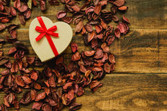 Beautiful gift with red ribbon Royalty Free Stock Image