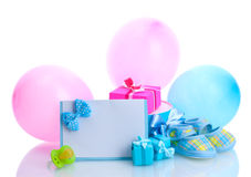 Beautiful gifts, baby's bootees Royalty Free Stock Image