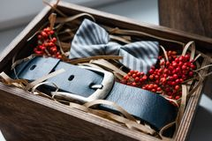 Beautiful gifts, a belt and a bow tie Royalty Free Stock Photo