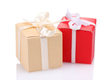 Beautiful gifts with bows Royalty Free Stock Photos
