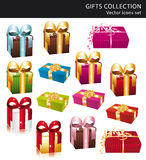 Beautiful gifts collection icons. Beautiful colorful wrapped gifts collection icons Stock Photo