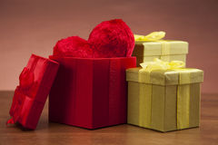 Beautiful gifts and heart! Royalty Free Stock Images